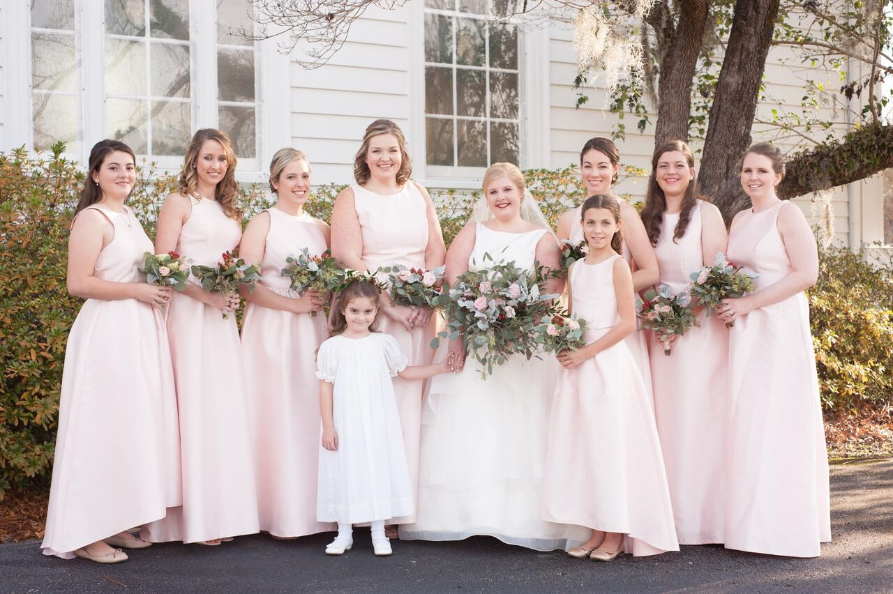 blush pink bridesmaids real wedding photo