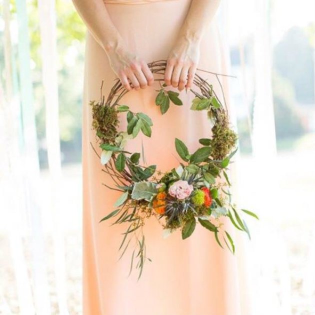 bridesmaid in peach color dress