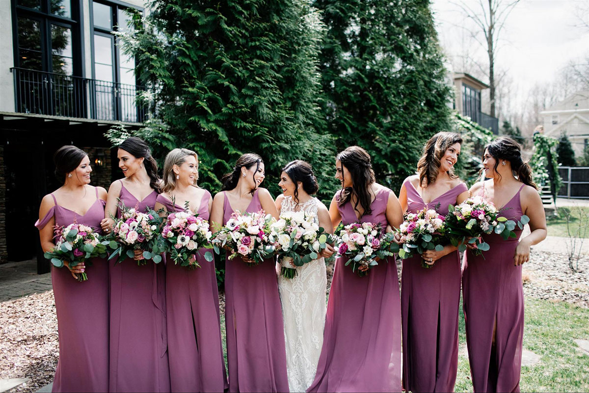 Dessy Real Wedding - English Rose Bridesmaid Dresses - @welaughwelove