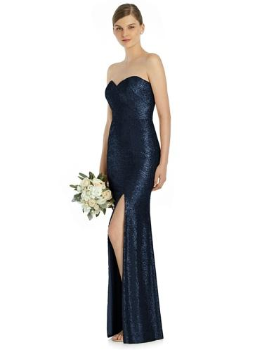 midnight blue sequin bridesmaid gown