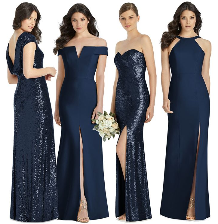 dessy navy bridesmaid dresses