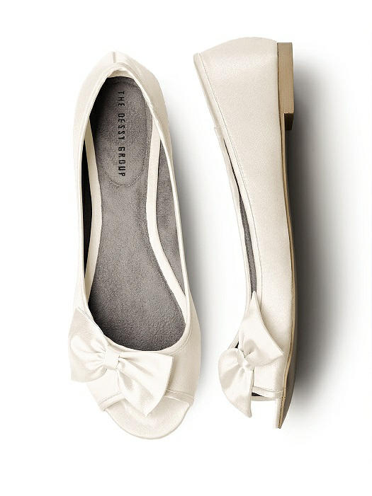 Open-Toe Ballet Flats with Bow