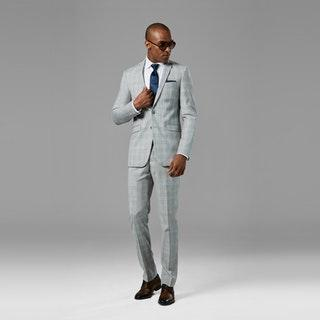 Light Gray Plaid Suit for Southern Wedding