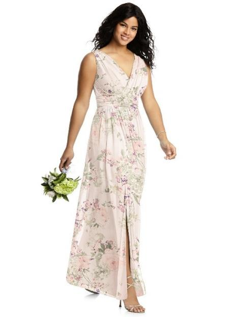 empire waist floral chiffon gown
