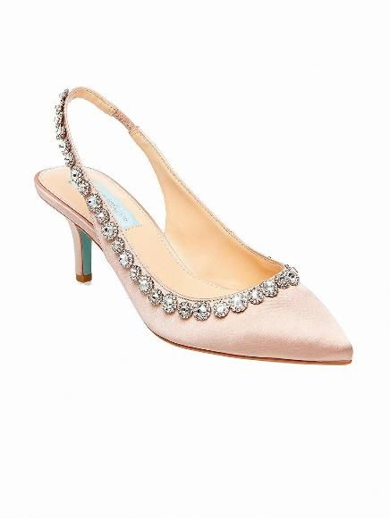 Blush Pink Slingback Heels with Crystal Trim