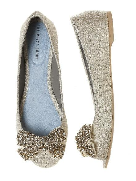 Gold Open Toe Wedding Flats with Large Crystal Bow