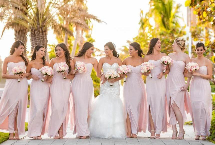 Blush Bridesmaid Gowns - Dessy Real Wedding - Photography by Mario Munoz