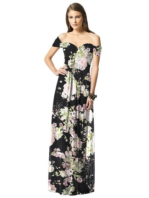 Black Floral Bridesmaid Dresses