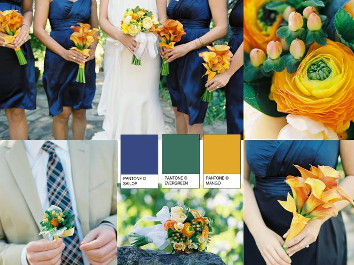 Wedding Inspiration Board - Navy, Dark Green, Mango