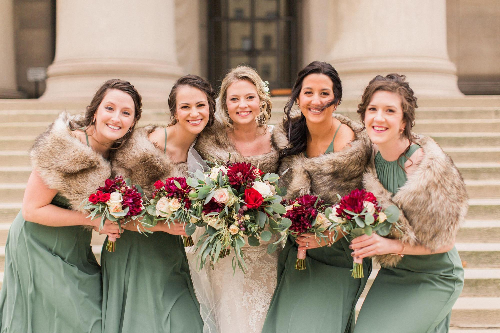 fur stoles for winter weddings