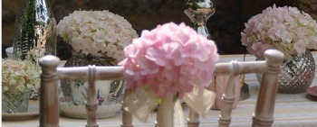 simple pink hydrangea chairback decoration