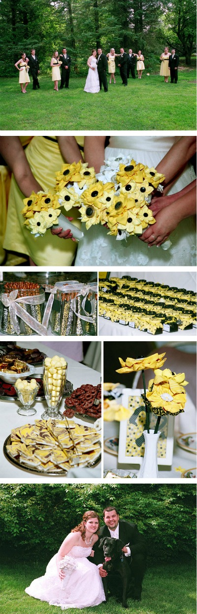 yellow and black themed wedding day