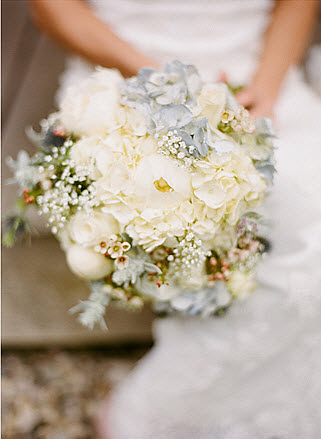 white and blue hydrangea wedding bouquet
