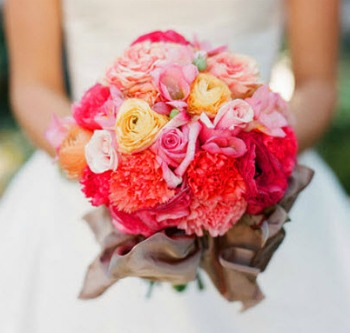 pink, yellow and red wedding bouquet