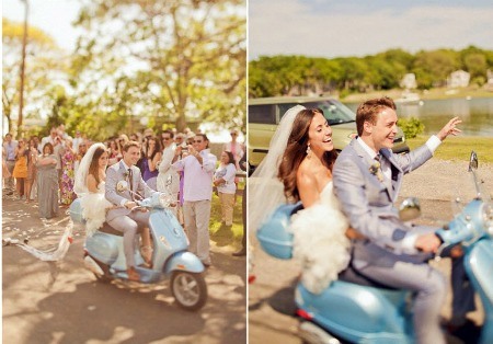 bride and groom on Vespa scooter
