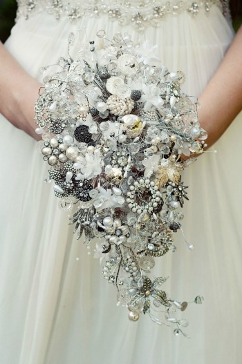 silver and pearl heirloom bouquet