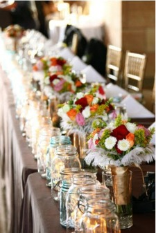 feather table decorations for wedding