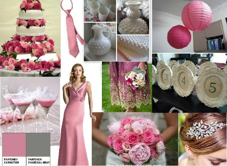 carnation and charcoal wedding moodboard