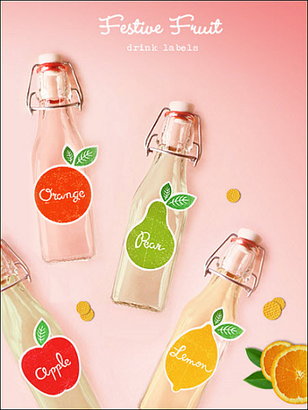 DIY Festive Fruit Drink Labels: FREE Download!