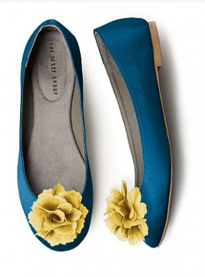 blue ballet flats with yellow shoe clips