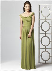 long green bridesmaid dress in chiffon