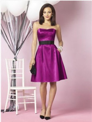 satin short fuchsia bridesmaid dress