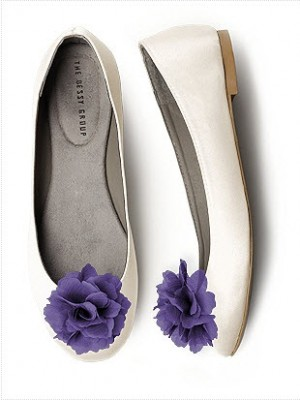 white ballet flats with purple shoe clips