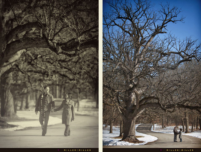 A White Winter Engagement Shoot: A Walk Through the Park