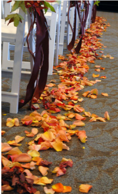 wedding aisle decorated with leaves