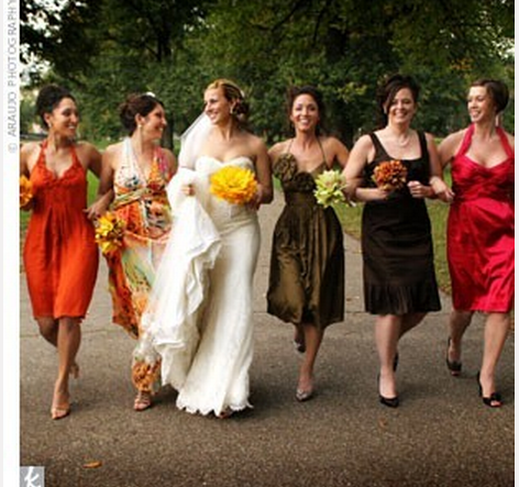 Autumn coloured bridesmaid dresses