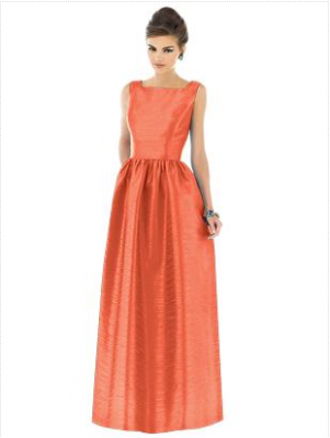 long orange bridesmaid dress