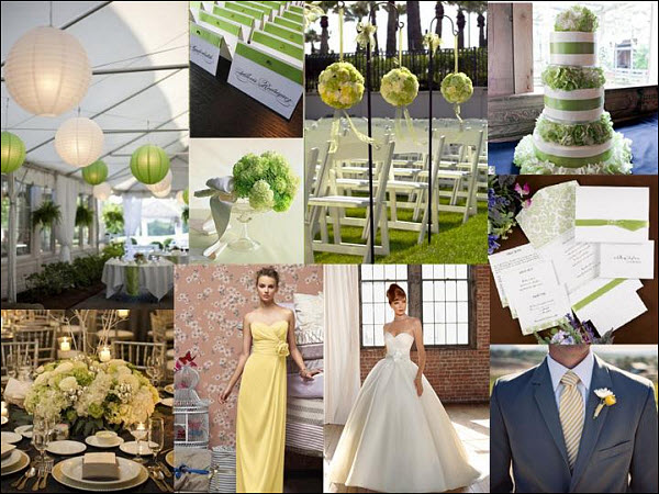 Weekly Inspiration Wedding StyleBoard: Lime Green, Pale Yellow & White