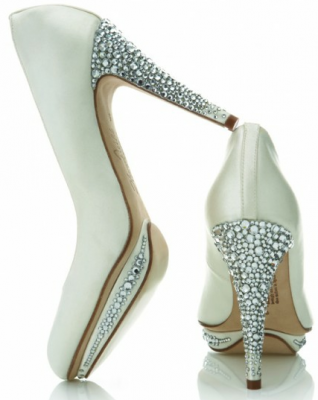 Crystal heel wedding shoes by Harriet Wilde