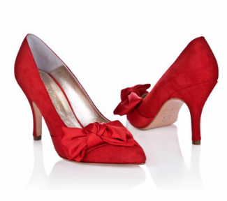 Red wedding shoes by Rachel Simpson