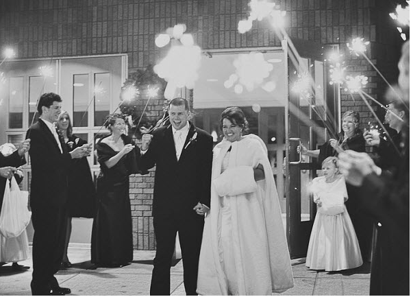 Bride and Groom at January wedding with sparklers
