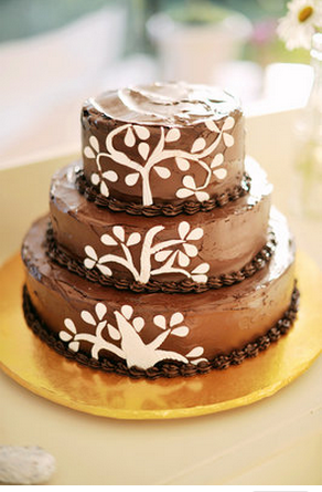 Tiered chocolate cake at wedding in Australia