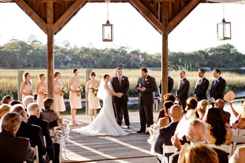 couple marrying at barn wedding