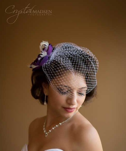 birdcage veil for bride with short hair