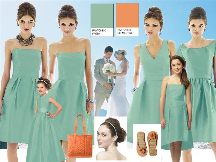 A Summer Beach Wedding with Pantone Fresh and Clementine