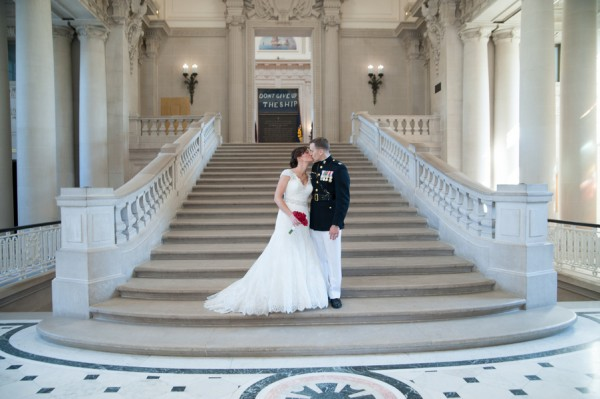 bride and groom on picturesque staircase