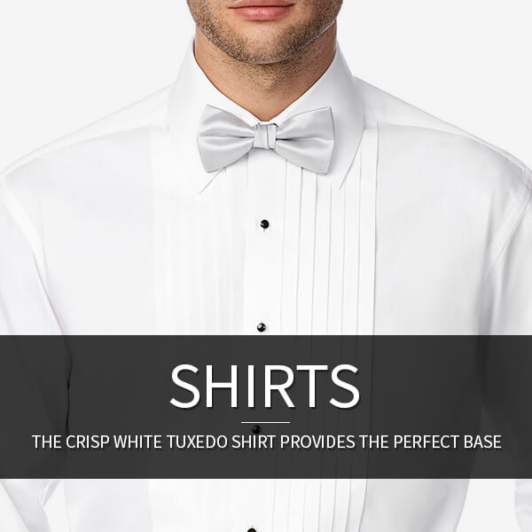Tuxedo Shirts: The crisp white tuxedo shirt provides the perfect base.