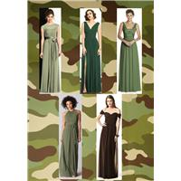 Nail that khaki with army green bridesmaid dresses from Dessy