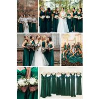 Why dark green bridesmaid dresses are having a real moment just now
